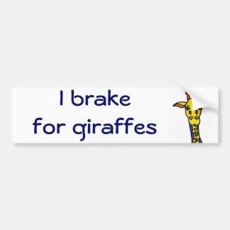 DB- I brake for giraffes bumper stickers