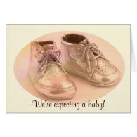 DBG© Baby Shoes Announcement Greeting Cards