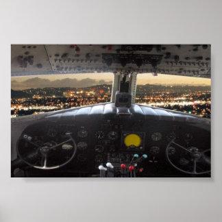 DC3 Cockpit Night View Print