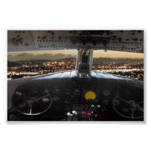 DC3 Cockpit Night View Poster