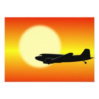 DC-3 passing sun. Announcements