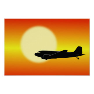 DC-3 passing sun. Poster