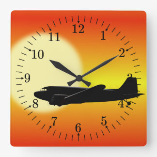 DC-3 passing sun. Square Wall Clock