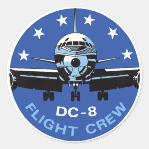 DC-8 Flight Crew Classic Round Sticker