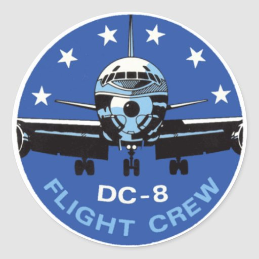 DC-8 Flight Crew Round Sticker