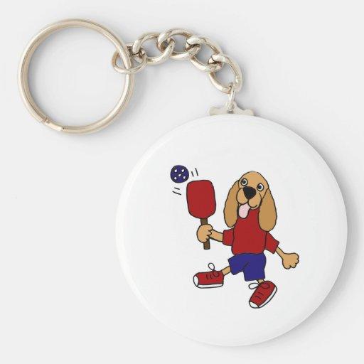 DC- Cocker Spaniel Playing Pickleball Cartoon Basic Round Button Keychain