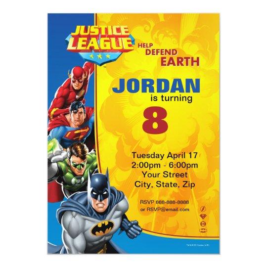 Dc comics justice league birthday invitation zazzle dc comics justice league birthday invitation stopboris Images