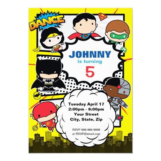 Dc comics justice league chibi birthday invitation zazzle dc comics justice league chibi birthday invitation stopboris Images