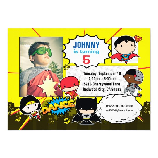 Justice League Invitations Free: Justice League - Chibi Birthday Photo