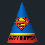 "DC Comics | Superman | Classic Logo Party Hat<br><div class=""desc"">Have an awesome birthday with some added help from a classic superhero with this cool DC Comics design. Featuring the Superman logo, in a vintage color palette, this retro design is sure to inspire kids to get stuck in at the dinner table. Wish a happy birthday and let Clark Kent&#39;s...</div>"