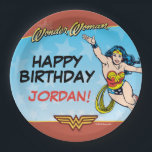 "DC Comics | Wonder Woman Birthday Paper Plate<br><div class=""desc"">Wonder Woman is an iconic superhero, who gives the likes of Batman and Superman a run for their money! Not only is she a superhero but she is also Princess of the Amazons and a fearless warrior. These girly, colorful paper plates make it clear why the brunette beauty has inspired...</div>"