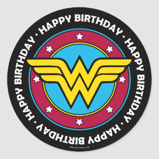 DC Comics | Wonder Woman Circle & Stars Logo Classic Round Sticker