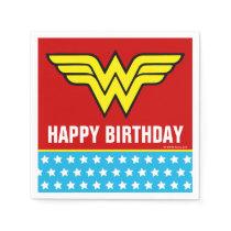 DC Comics   Wonder Woman Logo   Happy Birthday Napkins