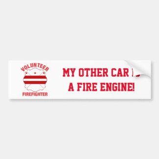DC Flag Volunteer Firefighter Cross Bumper Sticker