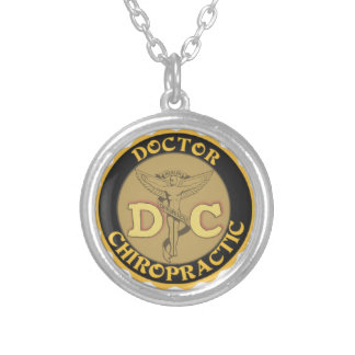 DC LOGO DOCTOR CHIROPRACTIC CADUCEUS SILVER PLATED NECKLACE