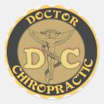 DC LOGO - DOCTOR CHIROPRACTIC CADUCEUS CLASSIC ROUND STICKER