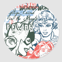 dc comics, spaced out, batgirl, wonder woman, fighting crime in the streets, power, strength, supergirl, super girl, Sticker with custom graphic design