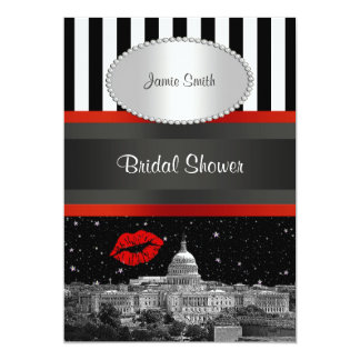 DC Skyline Blk Wht Strp Red Kiss Bridal Shower Card