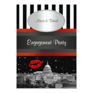 DC Skyline Blk Wht Strp Red Kiss P Engagement Card