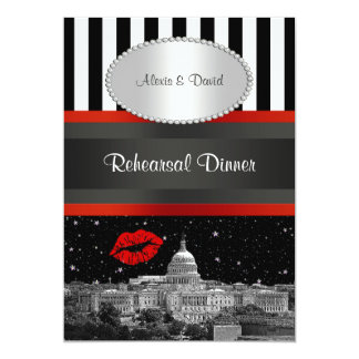 DC Skyline Blk Wht Strp Red Kiss P Rehearsal Din Card