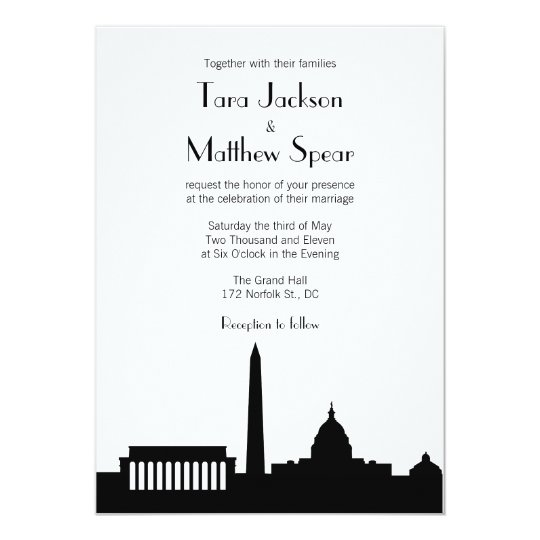 Personalized Skyline Wedding Invitations: DC Skyline Wedding Invitation