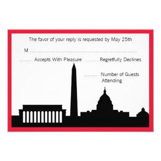 DC Skyline Wedding RSVP Cards - Red
