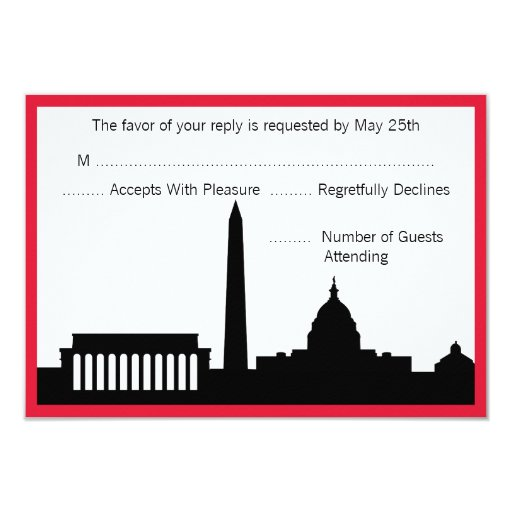 "DC Skyline Wedding RSVP Cards - Red 3.5"" X 5"" Invitation Card"