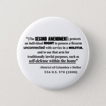 Lawyer Themed DC v Heller Second Amendment Case Law Pinback Button