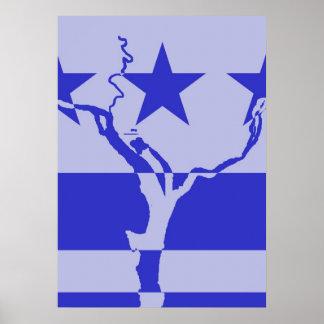 DC Waterways Inverted - Blue Poster