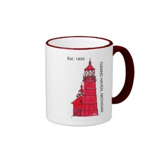 DD114 GRAND HAVEN, MICHIGAN 1839 RINGER COFFEE MUG