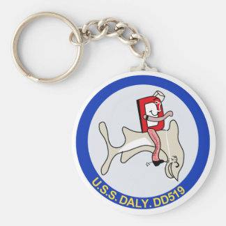 DD-519 A USS DALY Destroyer Military Patch Basic Round Button Keychain