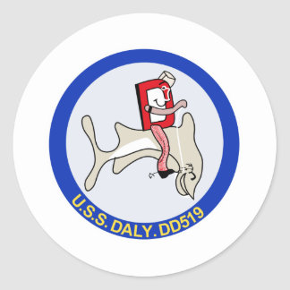 DD-519 A USS DALY Destroyer Military Patch Classic Round Sticker
