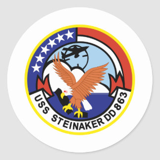 DD-863 USS STEINAKER Destroyer Ship Military Classic Round Sticker