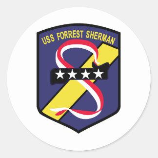 DD-931 B USS FORREST SHERMAN Destroyer Patch Classic Round Sticker