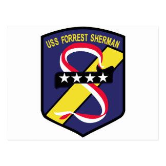 DD-931 B USS FORREST SHERMAN Destroyer Patch Postcard