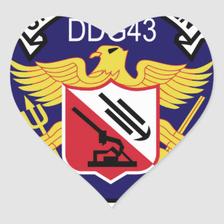 DDG-43 USS Dahlgren Guided Missile Destroyer Milit Heart Sticker