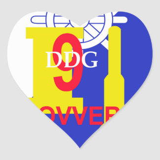DDG-9 USS Towers Navy Guided Missile Destroyer Mil Heart Sticker