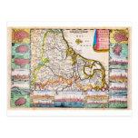 De 1710 La Feuille Map de la Bélgica holandesa Tarjeta Postal