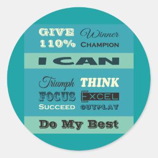 Dé a 110% de motivación inspirado pegatinas redondas
