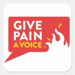 Dé a dolor una voz calcomanía cuadrada