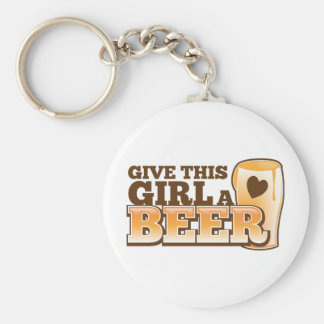 Dé a este chica un ND de la cerveza Llavero Redondo Tipo Pin
