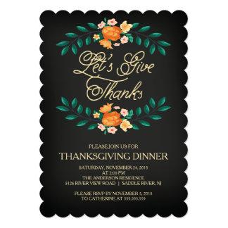 """Dé a gracias el fiesta de cena floral de la acción invitación 5"""" x 7"""""""