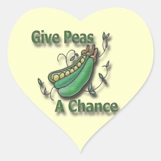 Dé a guisantes un verde de la ocasión calcomania corazon personalizadas