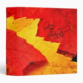 """Dé a hojas de otoño de las gracias 1,5"""" álbum de carpeta 1 1/2"""""""
