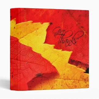 """Dé a hojas de otoño de las gracias 1"""" álbum de carpeta 1"""""""