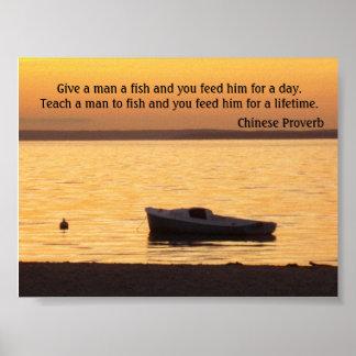 Dé a hombre un poster de los pescados
