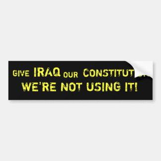 Dé a Iraq nuestra pegatina para el parachoques de  Etiqueta De Parachoque