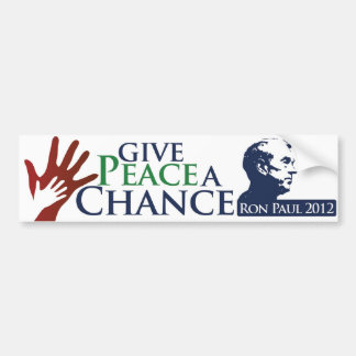 Dé a paz una oportunidad etiqueta de parachoque