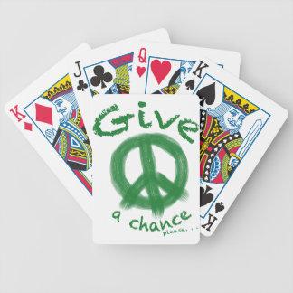 Dé a paz una oportunidad barajas de cartas