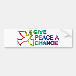 Dé a paz una oportunidad (el arco iris) pegatina para auto